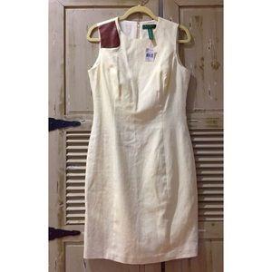 LAUREN RALPH LAUREN Cream Linen Sleeveless Dress